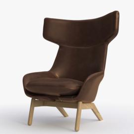 Artifort fauteuil Kalm Comfort 4 poot hout