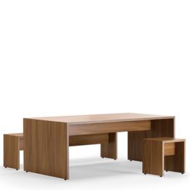 Lande CHEEK rechthoekige houten tafel met wanden