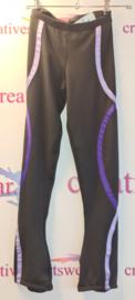 Zwarte broek met paars/lila slingers maat 8-10