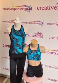 Sportbroekje Lycra met gekleurde blauwe band