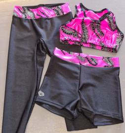 Sportbroekje Lycra met gekleurde roze band