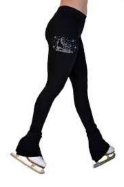 """P622F All Black 3"""" Waist Band Light Weight Fleece Figure Skating Pants"""