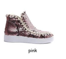 Pailette boots roze