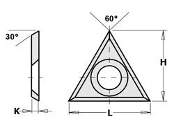 Doosje met 10 stuks driehoeksvoorsnijders HW S2020 22x19x2 30°