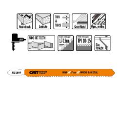 Decoupeerzaagbladen HCS 132x1.7-2.6x10-15TPI (5 stuks)  hout en metaal/recht/fijn