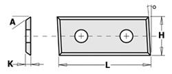 Doosje met 10 stuks schuine wisselmessen HW F1730 28.3x12x1.5 35°