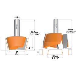 Reparatiefreesset voor massief plaatmateriaal HW S=12.7 D=47.6/63X20 RH