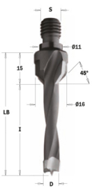 Drevelboor met verzinker HW D=5x20 S=M10/11 Links