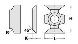 Doosje met 10 stuks afschuinwisselmessen HW F1730 45° (16X22X5)