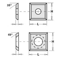 Doosje met 10 stuks vierkante wisselmessen HW S2020 14x14x2 45°