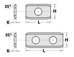 Doosje met 10 stuks wisselmessen met afgeschuinde hoeken  HW F1730 30x12x1.5 35°