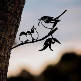 Winterkoninkje met jongen - Metal bird