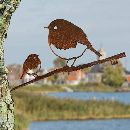 Roodborst met jong - Metalbird