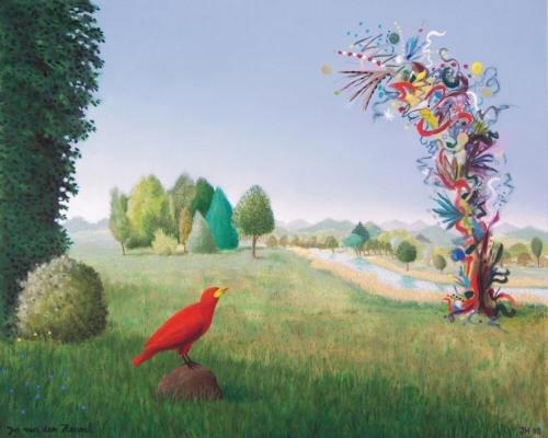 Landschap met rode vogel - Jos van den Heuvel