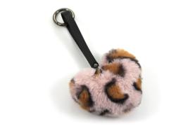 Fluffy Sleutel / Tas hanger Panter Pink