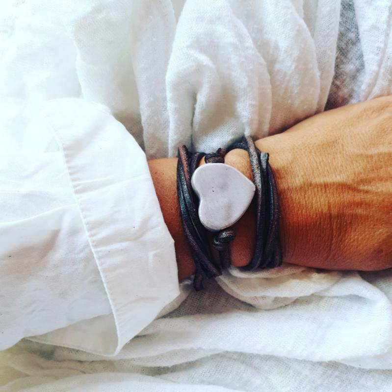 Armband keramiek hart Lila
