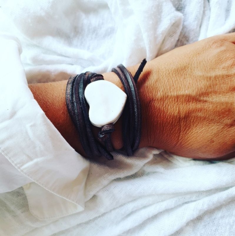 Armband keramiek hart Wit