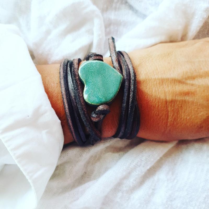 Armband keramiek hart Groen