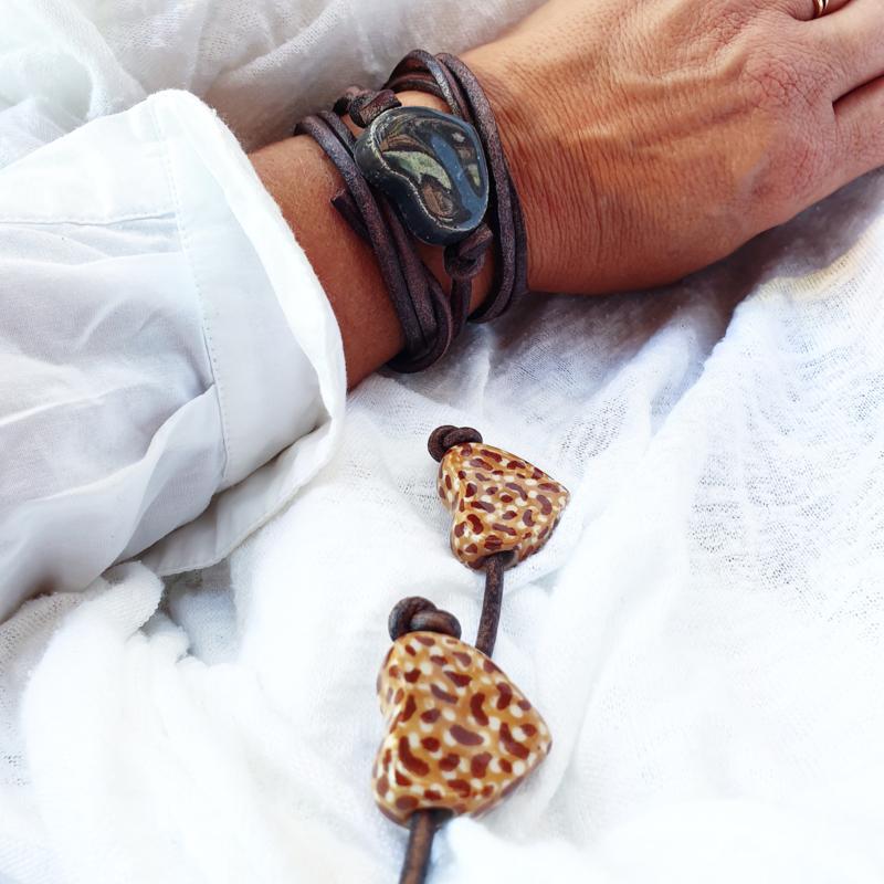 Armband keramiek hart Antraciet