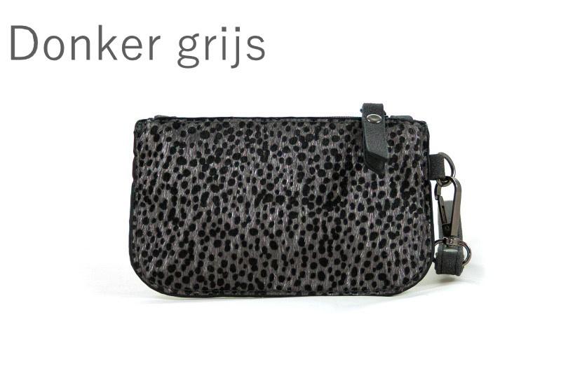 Klein Portemonneetje Donker grijs Leopard