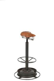Barkruk, industrieel met ronde voet en bruine fietszadel