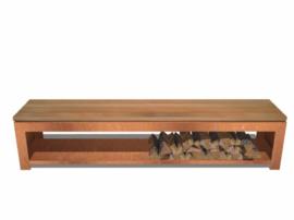 Tuinbank cortenstaal en hardhouten zitting met houtopslag