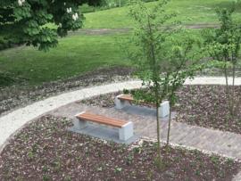 Tuinbank beton en geschaafd hardhout 175x45x45cm