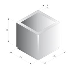 Bloembak beton 60x60x60cm grijs