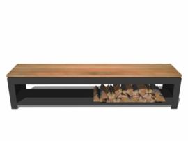 Tuinbank zwart gecoat staal en hardhouten zitting met houtopslag