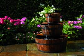Waterval van 3 rustieke houten vaten Ø32 - Ø46 - Ø59