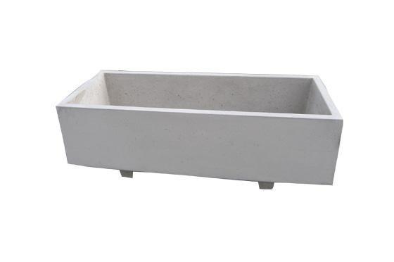 Bloembak beton 150x60x50cm grijs met voeten