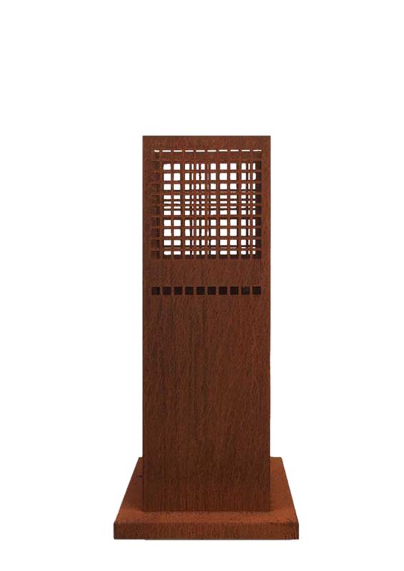 Vuurzuil cortenstaal 33,5 x 33,5 x 75cm