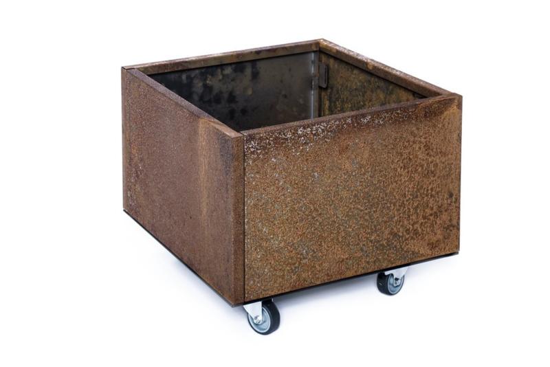 Bloembak plaatstaal 40x40x32cm met wielen
