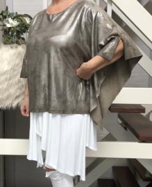 ITALIA hippe camouflage poncho/top met zilver verf coating