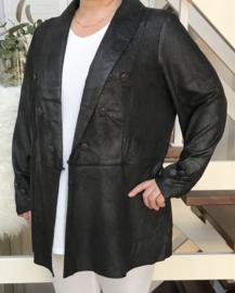 ITALIA super zacht eco-leder A-lijn  korte jas/blazer stretch