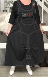 CN-G lange jurk zwart met applicaties en steekzakken