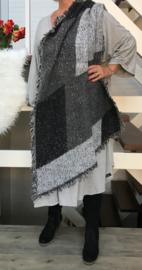 Italia super zacht winter viscose/wol dubbelzijdig asymmetrisch sjaal
