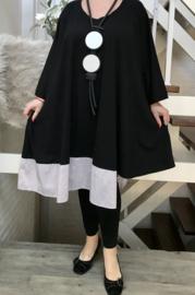 Noelia oversized A-lijn katoen jersey asymmetrisch jurk/tuniek met zakken apart zwart (extra groot)stretch