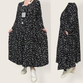 New Jersey viscose A-lijn jurk met zakken zwart/wit