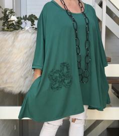 Margaret  oversized A-lijn jersey tuniek/jurk met zakken apart (extra groot)
