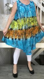 Olivia viscose geverfde asymmetrisch A-lijn jurk