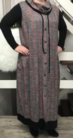 Naveed jersey A-lijn jurk (extra groot) zonder mouwen met imitatie knopsluiting