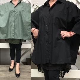ITALIA oversized katoen blouse/hemd lichtstretch/in meerdere kleuren