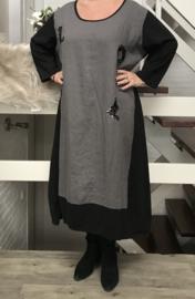 Vincenzo Allocca jersey katoen A-lijn jurk met inzet van linnen