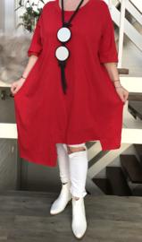 ITALIA katoen tricot asymmetrisch tuniek/jurk /in meerdere kleuren
