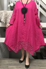 La Bass linnen A-lijn jurk met inzet van KANT//in meerdere kleuren