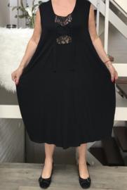 Naveed  viscose jersey A-lijn jurk  met kant zwart
