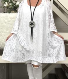 Claudia oversized A-lijn KANTEN jurk/tuniek apart (extra groot) stretch
