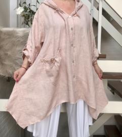 Moonshine oversized linnen vest/blazer  mat capuchon/in meerdere kleuren