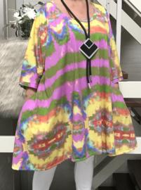 Luisa oversized A-lijn jersey tuniek/jurk met zakken apart (extra groot)